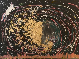 Gold Side of the Moon Abstract Painting Bad Art and Meow