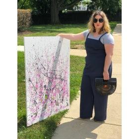 Pink Abstract Art Painting Brigandi's Barber Shop